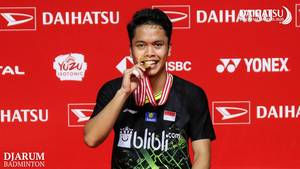 Anthony Sinisuka Ginting (Indonesia) juara tunggal putra Daihatsu Indonesia Masters 2020 BWF World Tour Super 500.