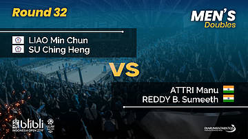 Round 32 | MD | LIAO / SU (TPE) vs ATTRI / REDDY (IND) | Blibli Indonesia Open 2019
